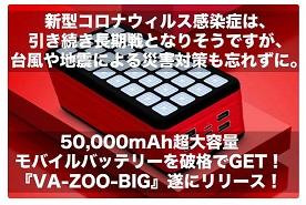 ランタン付き大容量バッテリー『VA-ZOO-BIG』50,000mAhが格安で!